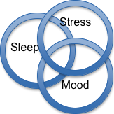Sleep - Stress - Mood Venn diagram